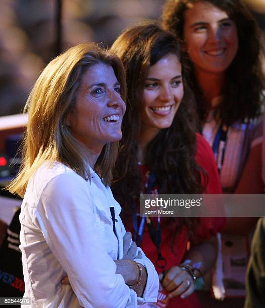 Caroline Kennedy Schlossberg and daughters Rose Schlossberg and Tatiana Schlossberg2 stand at the podium before the first session of day one of the...