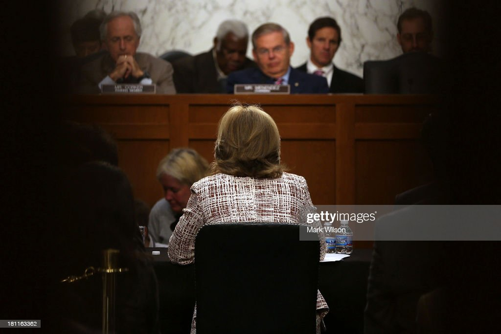 Caroline Kennedy sits at the witness table during her Senate Foreign Relations Committee confirmation hearing on Capitol Hill, September 19, 2013 in Washington, DC. If confirmed by the U.S. Senate Kennedy will become the first female U.S. Ambassador to Japan.