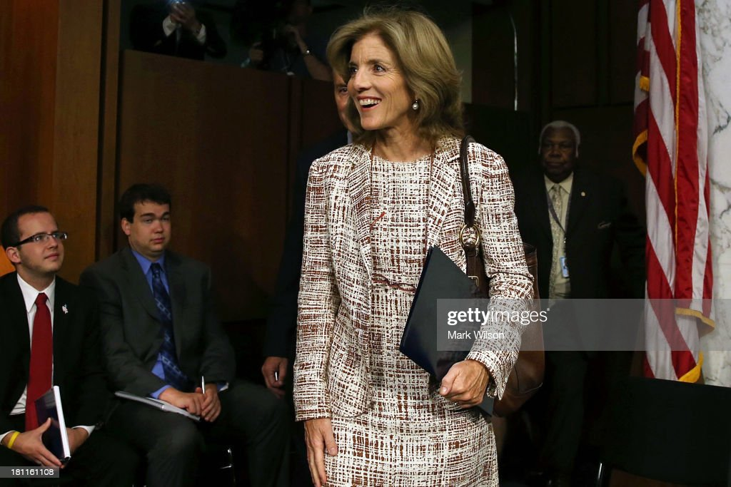 Caroline Kennedy walks into her Senate Foreign Relations Committee confirmation hearing on Capitol Hill, September 19, 2013 in Washington, DC. If confirmed by the U.S. Senate Kennedy will become the first female U.S. Ambassador to Japan.
