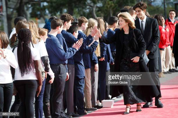Caroline Kennedy walks the red carpet with her son Jack Schlossberg as they arrive for the annual John F Kennedy Profile in Courage Award at the the...