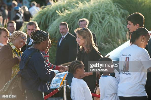 Caroline Kennedy with her son John and Tatiana greet people waiting in line to pass by the casket containing the body of Senator Edward M Kennedy at...