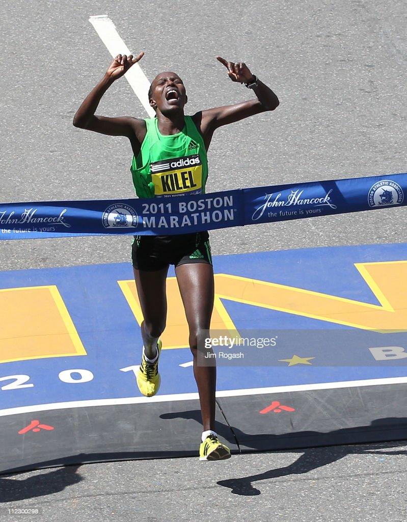 Caroline Kikel #8 wins the women's division of the 115th running of the Boston Marathon on April 18, 2011 in Boston, Massachusetts.