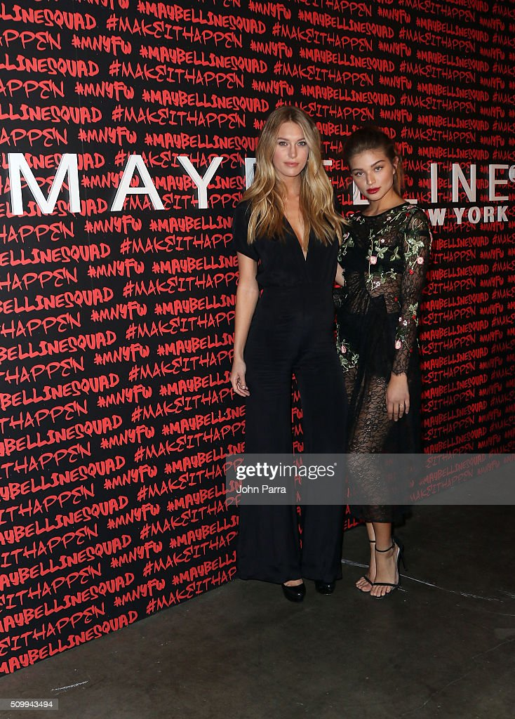 Caroline Lowe and Daniela Lopez Osorio attend Maybelline New York celebrates fashion week at Dream Downtown Hotel on February 12 2016 in New York City