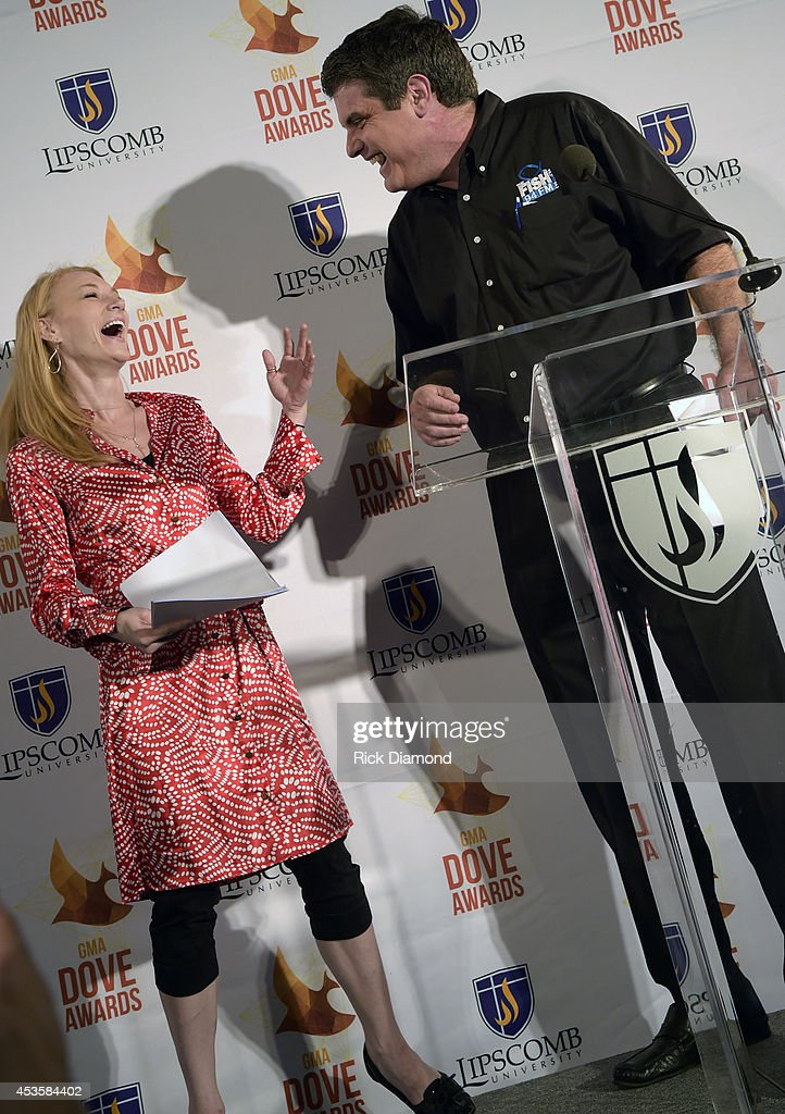 Caroline Lusk and Doug Griffin attend the nominees during the 45th Annual GMA Dove Awards Nominations Press Conference at Allen Arena on Lipscomb University campus, August 13, 2014 in Nashville, Tennessee.