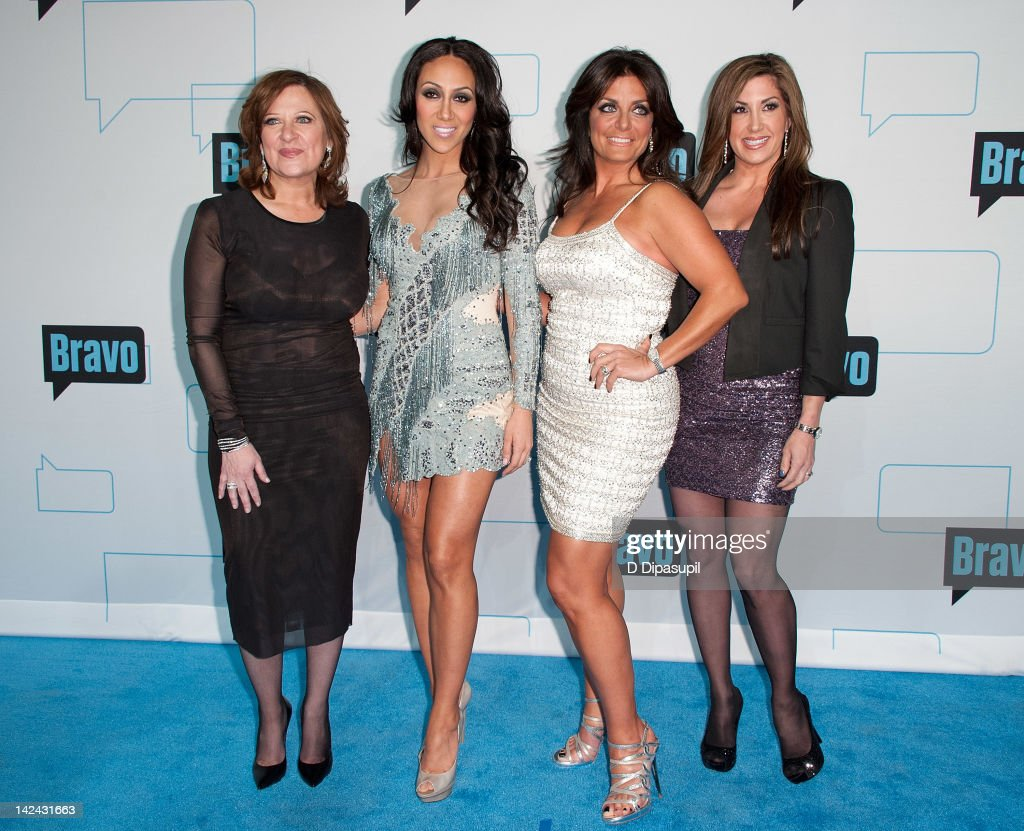 Caroline Manzo, Melissa Gorga, Kathy Wakile, and Jacqueline Laurita of The Real Housewives of New Jersey attend Bravo Upfront 2012 at Center 548 on April 4, 2012 in New York City.