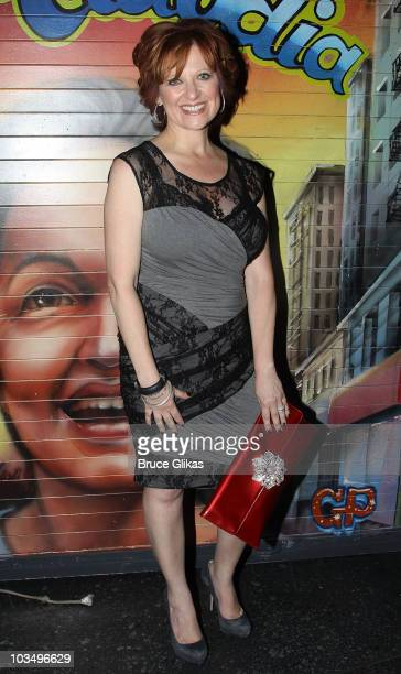 Caroline Manzo of The Real Houswives of New Jersey poses backstage at 'In The Heights' on Broadway at the Richard Rodgers Theatre on August 19 2010...