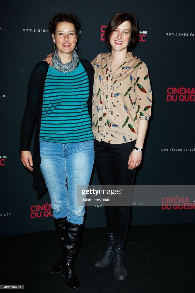 Caroline Martel (R) and guest attend 'Cinema Du Quebec' Opening Party In Paris at Forum Des Images on November 26, 2013 in Paris, France.