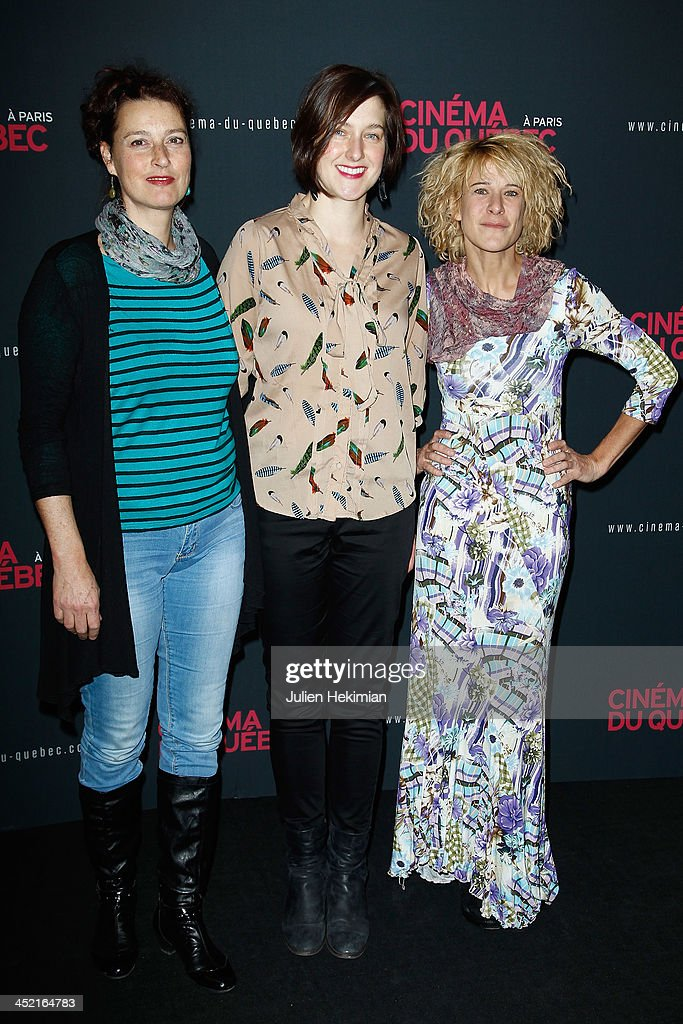 Caroline Martel (C) and Marie Jo Therio (R) attend 'Cinema Du Quebec' Opening Party In Paris at Forum Des Images on November 26, 2013 in Paris, France.