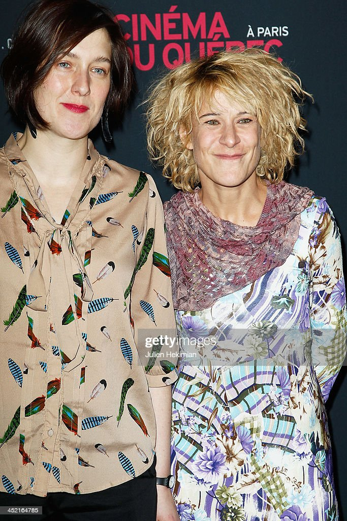 Caroline Martel (R) and Marie Jo Therio attend 'Cinema Du Quebec' Opening Party In Paris at Forum Des Images on November 26, 2013 in Paris, France.
