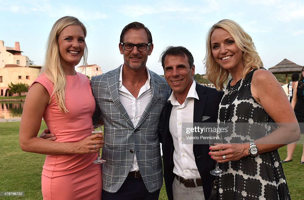 Caroline Martens, Ronald de Boer, <a gi-track='captionPersonalityLinkClicked' href=/galleries/search?phrase=Gianfranco+Zola&family=editorial&specificpeople=213951 ng-click='$event.stopPropagation()'>Gianfranco Zola</a> and <a gi-track='captionPersonalityLinkClicked' href=/galleries/search?phrase=Carin+Koch&family=editorial&specificpeople=208667 ng-click='$event.stopPropagation()'>Carin Koch</a> arrive at the Gala Dinner following The Costa Smeralda Invitational Golf Tournament at Pevero Golf Club, Costa Smeralda on June 27, 2015 in Olbia, Italy.