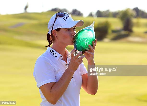 Caroline Masson of Germany celebrates with the Championship Trophy after winning the Manulife LPGA Classic at Whistle Bear Golf Club on September 4...