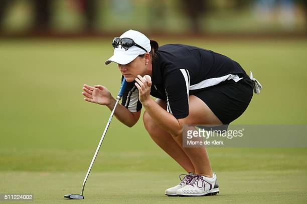 Caroline Masson of Germany competes during day two of the ISPS Handa Women's Australian Open at The Grange GC on February 19 2016 in Adelaide...
