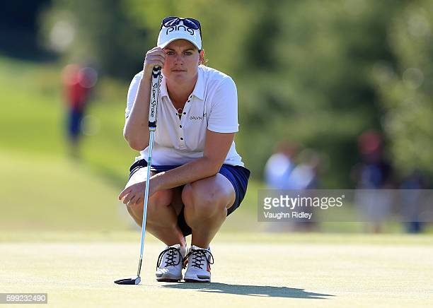 Caroline Masson of Germany eyes up a putt on the 18th hole during the final round of the Manulife LPGA Classic at Whistle Bear Golf Club on September...