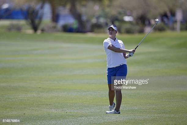 Caroline Masson of Germany hits a shot on the first hole during the third round of the LPGA JTBC Founders Cup at Wildfire Golf Club on March 19 2016...