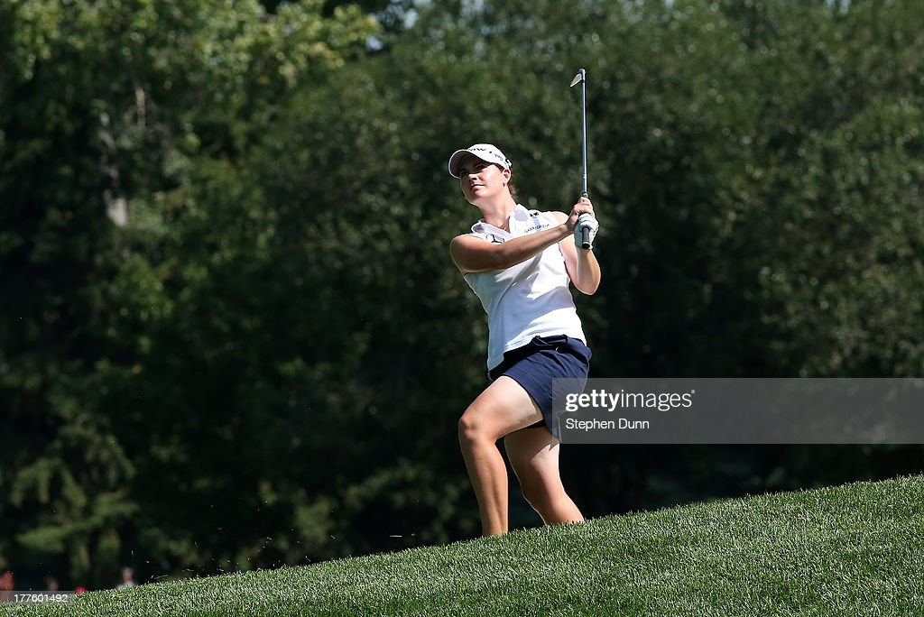 <a gi-track='captionPersonalityLinkClicked' href=/galleries/search?phrase=Caroline+Masson&family=editorial&specificpeople=2259560 ng-click='$event.stopPropagation()'>Caroline Masson</a> of Germany hits from the top of a hill on the 15th hole during the third round of the CN Canadian Women's Open at Royal Mayfair Golf Club on August 24, 2013 in Edmonton, Alberta, Canada.