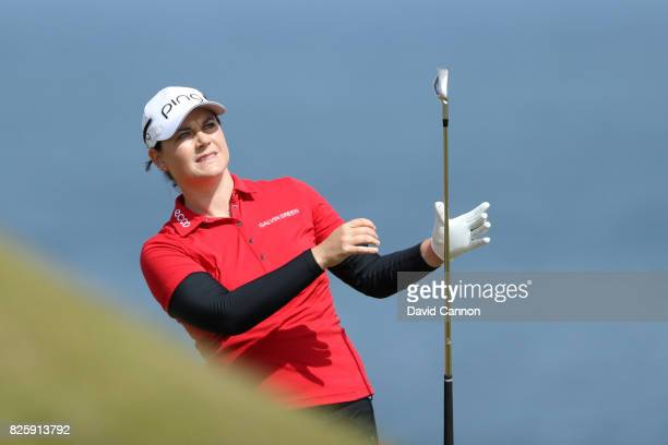 Caroline Masson of Germany hits her second shot on the 4th hole during the first round of the Ricoh Women's British Open at Kingsbarns Golf Links on...