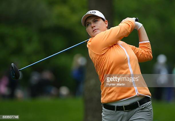 Caroline Masson of Germany hits her tee shot on the 12th hole during the final round of the Kingsmill Championship presented by JTBC on the River...
