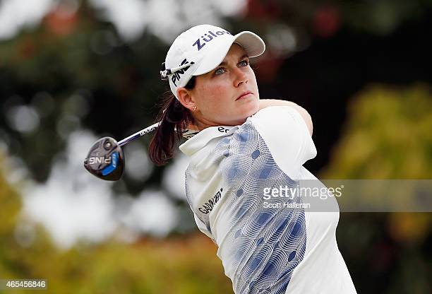 Caroline Masson of Germany hits her tee shot on the 16th hole during the third round of the HSBC Women's Champions at the Sentosa Golf Club on March...