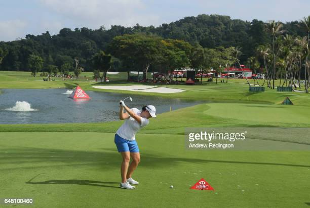 Caroline Masson of Germany hits her teeshot on the 15th hole during the final round of the HSBC Women's Champions on the Tanjong Course at Sentosa...