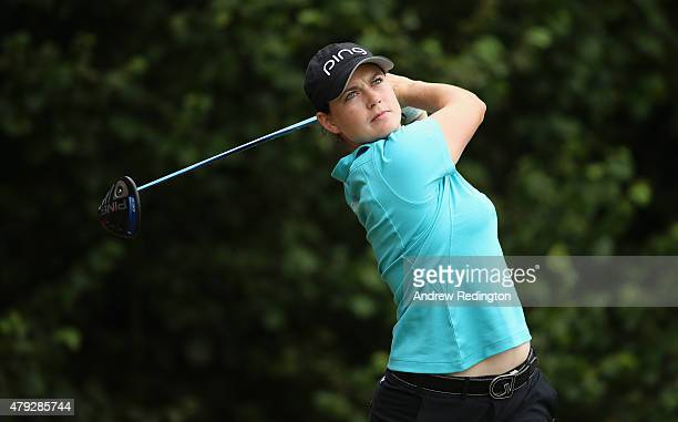 Caroline Masson of Germany in action during the first round of the ISPS Handa Ladies European Masters at The Buckinghamshire Golf Club on July 2 2015...