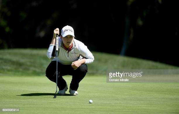 Caroline Masson of Germany lines up a putt during the First Round of the KIA Classic at the Park Hyatt Aviara Resort on March 23 2017 in Carlsbad...