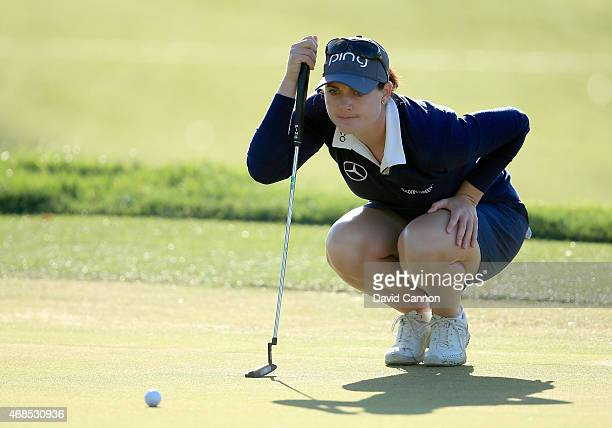 Caroline Masson of Germany lines up a putt on the first hole during the second round of the ANA Inspiration on the Dinah Shore Tournament Course at...