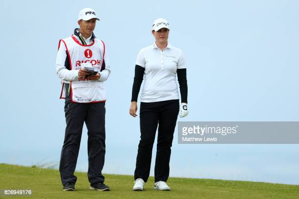 Caroline Masson of Germany looks down the 4th hole during the final round of the Ricoh Women's British Open at Kingsbarns Golf Links on August 6 2017...