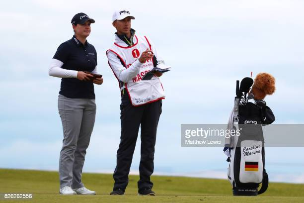 Caroline Masson of Germany looks down the 4th hole during the second round of the Ricoh Women's British Open at Kingsbarns Golf Links on August 4...