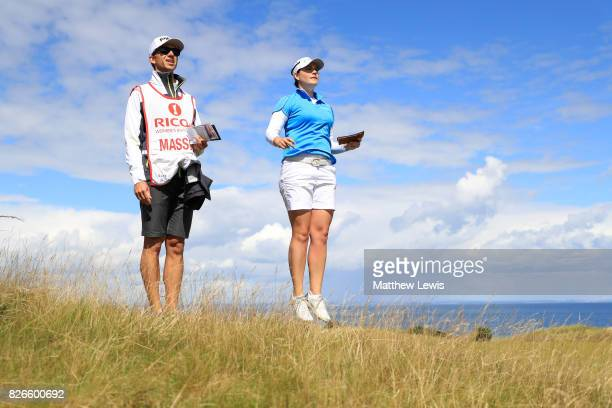 Caroline Masson of Germany looks down the 4th hole during the third round of the Ricoh Women's British Open at Kingsbarns Golf Links on August 5 2017...