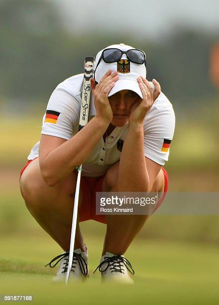 Caroline Masson of Germany on the 18th green during the second round of the Women's Individual Stroke Play golf on day 13 of the Rio Olympics at the...