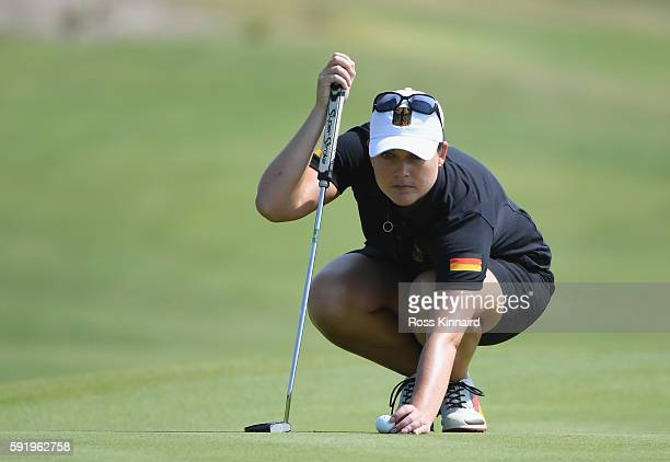 Caroline Masson of Germany on the 4th green during the third round of the Women's Individual Stroke Play golf on day 14 of the Rio Olympics at the...