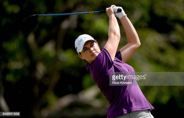 Caroline Masson of Germany on the par four 14th tee during the first round of the HSBC Women's Champions on the Tanjong course at Sentosa Golf Club...