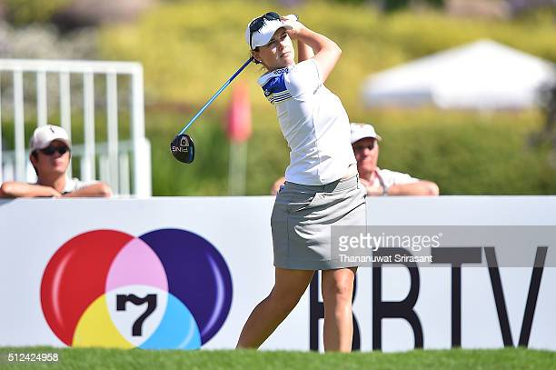 Caroline Masson of Germany plays a shot during day two of the 2016 Honda LPGA Thailand at Siam Country Club on February 26 2016 in Chon Buri Thailand