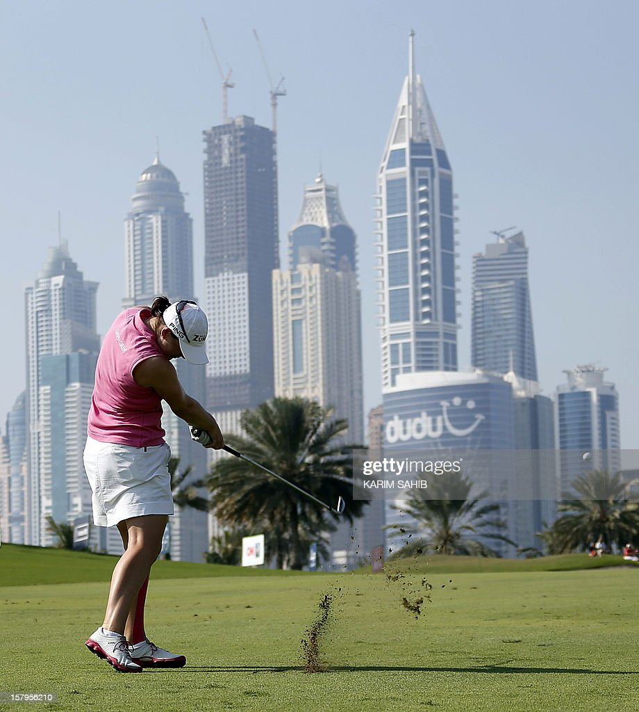 Caroline Masson of Germany plays a shot during the final round of the 2012 Dubai Ladies Masters Golf on December 8, 2012 in the Gulf emirate of Dubai.
