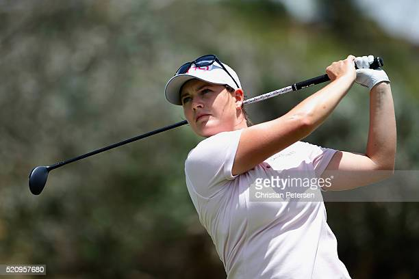 Caroline Masson of Germany plays a tee shot on the 18th hole during the first round of the LPGA LOTTE Championship Presented By Hershey at Ko Olina...