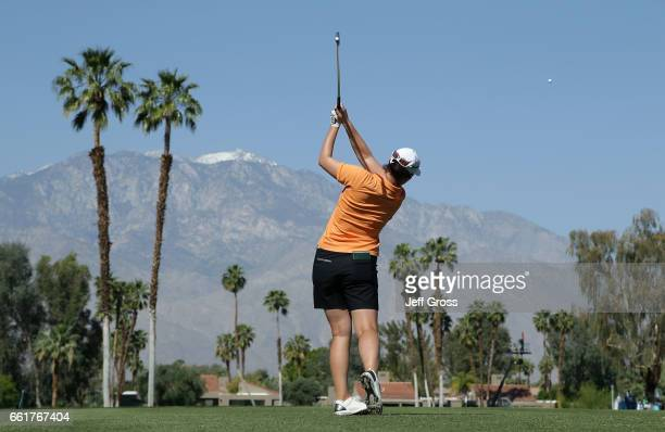 Caroline Masson of Germany plays a tee shot on the fifth hole during the completion of the first round of the ANA Inspiration at the Dinah Shore...