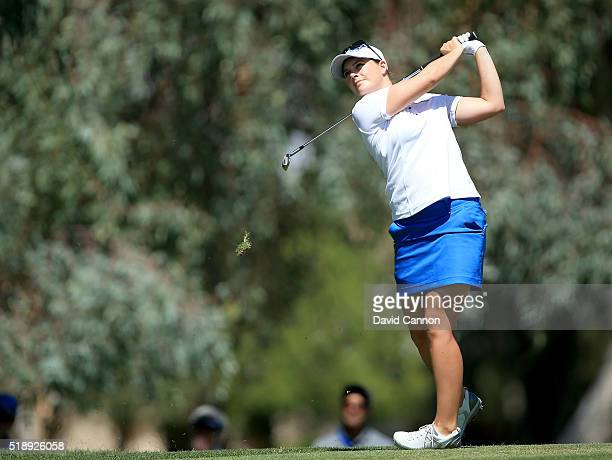 Caroline Masson of Germany plays her second shot at the par 4 first hole during the final round of the 2016 ANA Inspiration at the Mission Hills...