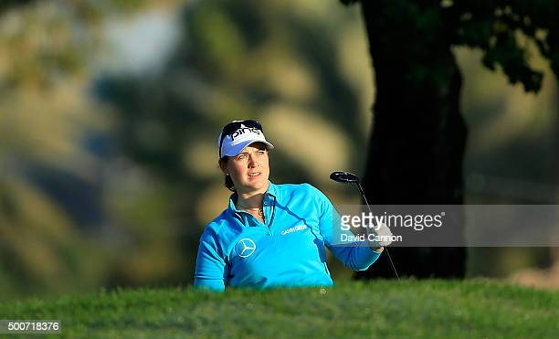 Caroline Masson of Germany plays her second shot on the par 5 10th hole during the second round of the 2015 Omega Dubai Ladies Masters on the Majlis...