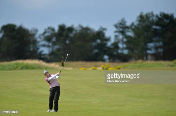 Caroline Masson of Germany plays her second shot to the 9th during the second day of the Aberdeen Asset Management Ladies Scottish Open at Dundonald...