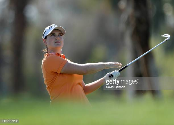 Caroline Masson of Germany plays her tee shot on the par 3 fifth hole during the completion of the delayed first round of the 2017 ANA Inspiration...