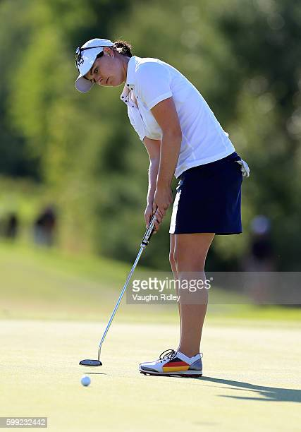 Caroline Masson of Germany putts for birdie on the 18th hole during the final round of the Manulife LPGA Classic at Whistle Bear Golf Club on...