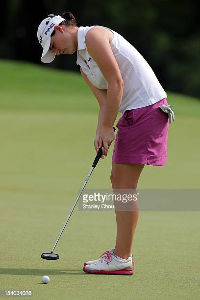 Caroline Masson of Germany putts on the 3rd hole during day two of the Sime Darby LPGA Malaysia at Kuala Lumpur Golf Country Club on October 11 2013...