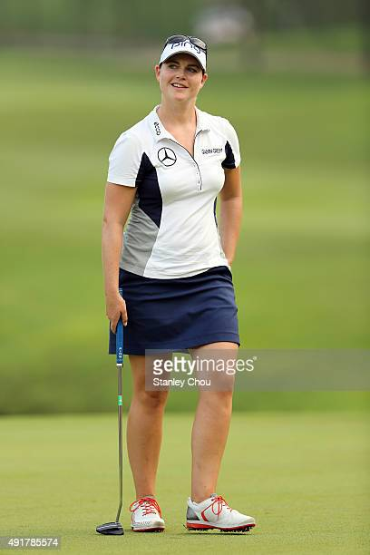 Caroline Masson of Germany reacts on the 18th hole during round one of the Sime Darby LPGA Tour at Kuala Lumpur Golf Country Club on October 8 2015...