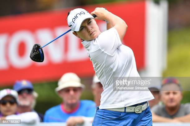 Caroline Masson of Germany tee off at hole 10 during the Honda LPGA Thailand at Siam Country Club on February 24 2017 in Chonburi Thailand