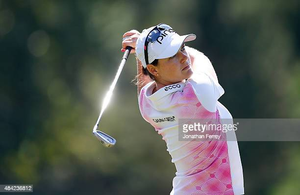 Caroline Masson of Germany tees off on the 2nd hole during the final round of the LPGA Cambia Portland Classic at Columbia Edgewater Country Club on...