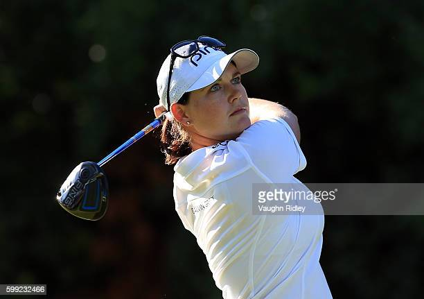 Caroline Masson of Germany watches her drive on the 18th hole during the final round of the Manulife LPGA Classic at Whistle Bear Golf Club on...