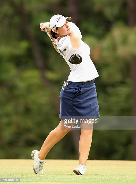 Caroline Masson of Germany watches her tee shot on the tenth hole during the third round of the 69th US Women's Open at Pinehurst Resort Country Club...