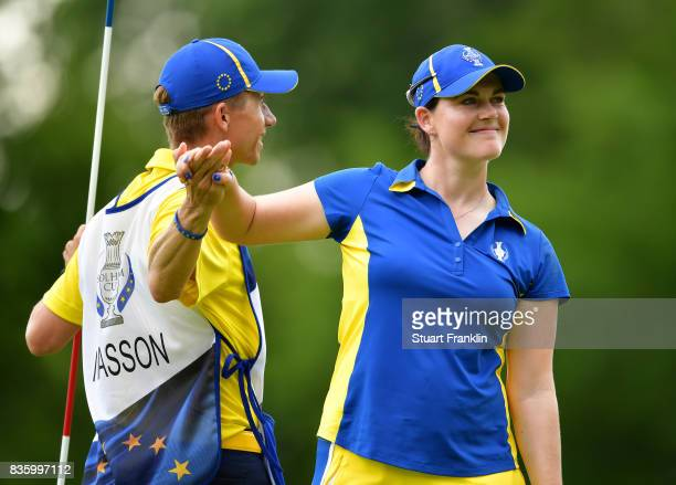 Caroline Masson of Team Europe celebrates during the final day singles matches of The Solheim Cup at Des Moines Golf and Country Club on August 20...