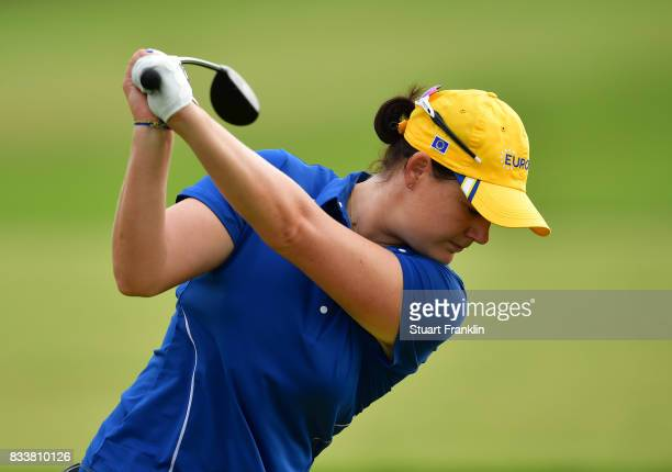 Caroline Masson of Team Europe plays a shot during practice prior to The Solheim Cup at Des Moines Golf and Country Club on August 17 2017 in West...