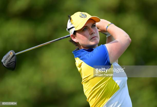 Caroline Masson of Team Europe plays a shot during the afternoon fourball matches of The Solheim Cup at Des Moines Golf and Country Club on August 18...